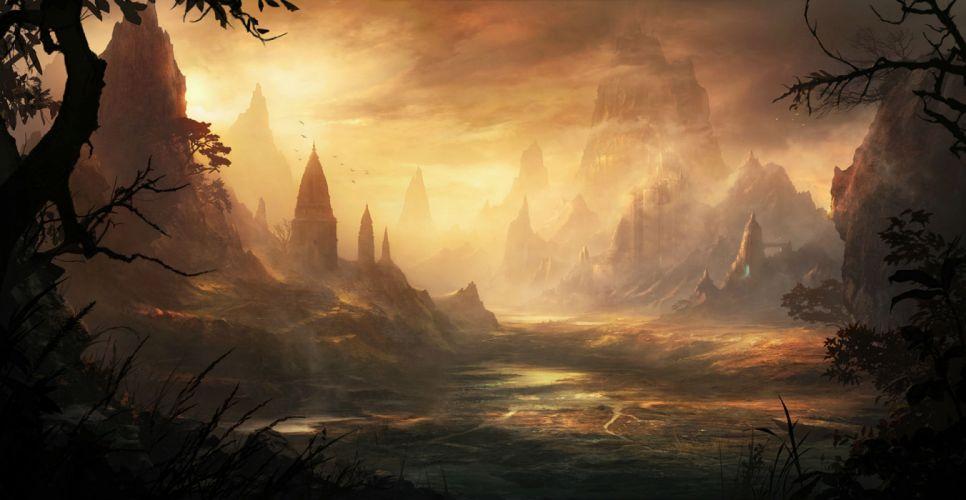 original building korbox landscape nobody original scenic sky sunset tree fantasy wallpaper