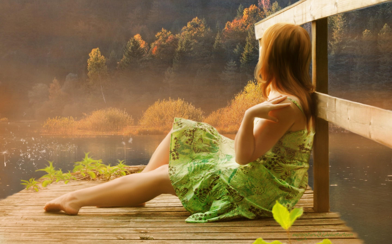 Painting art girl autumn lake mood wallpaper 2880x1800 179409 wallpaperup