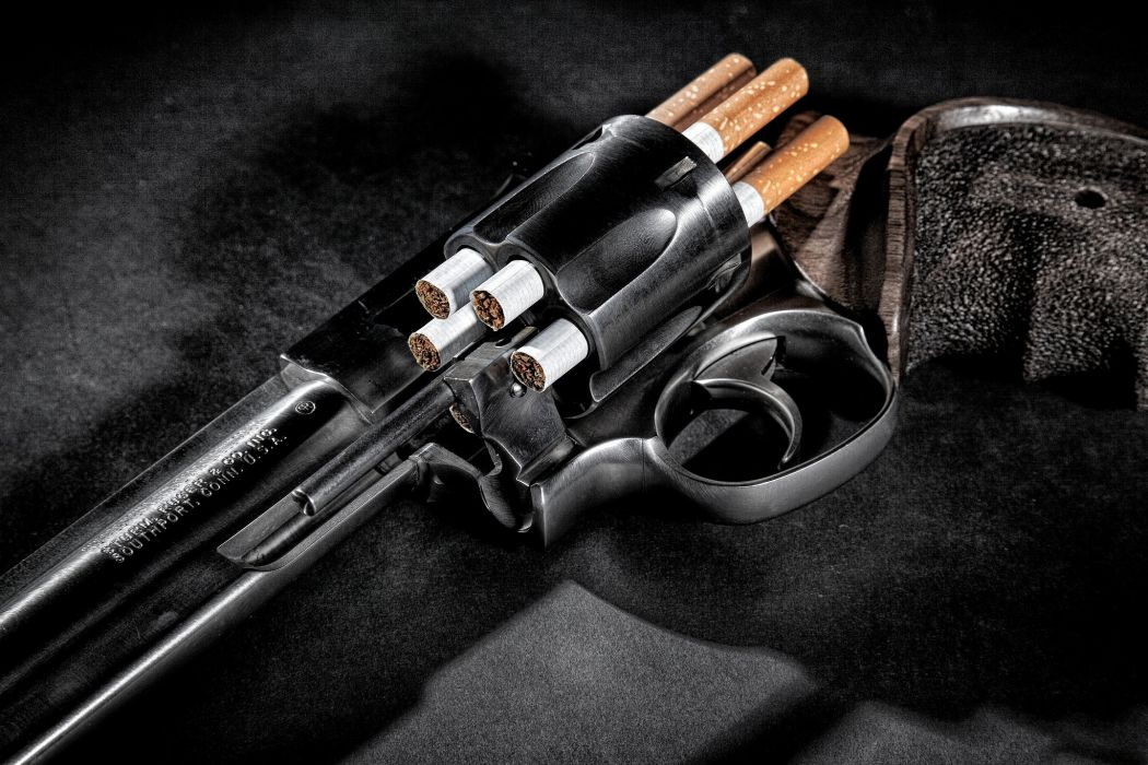 Pistol revolver COLT drums tobacco cigarette filters ARM TRIGGER barrel muzzle wallpaper