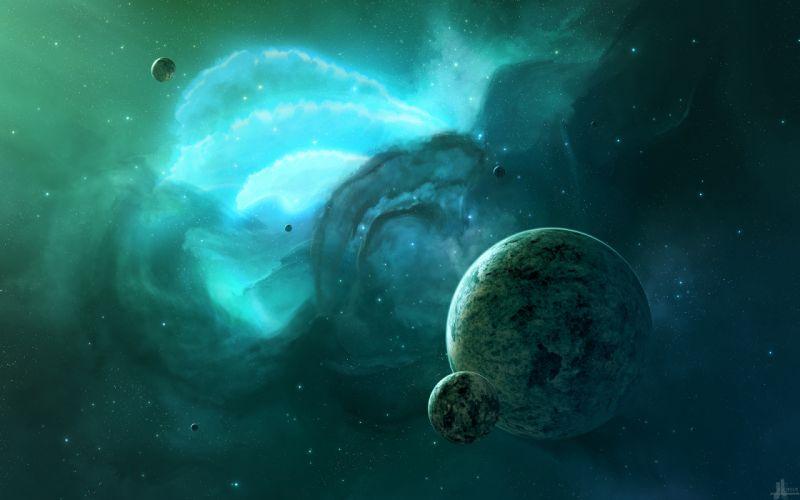 Planet Stars Green Nebula wallpaper