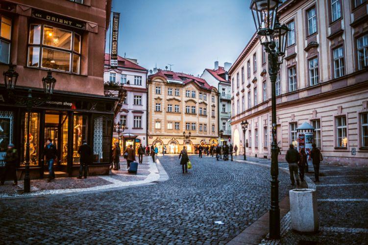 Prague Czech Republic Czech Republic city Stare Mesto evening houses buildings people shopping lights pavement wallpaper