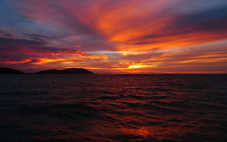 sea sky clouds clouds horizon sun sunset red wallpaper