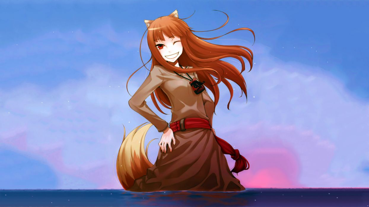 spice and wolf animal ears brown hair clouds horo long hair photoshop red eyes sky spice and wolf stars sunset tail water wink wolfgirl wallpaper