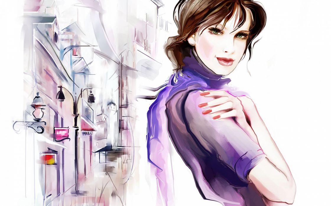 Tatiana Nikitina girl eyes hair hand scarf street street lamp puddle reflection houses art wallpaper
