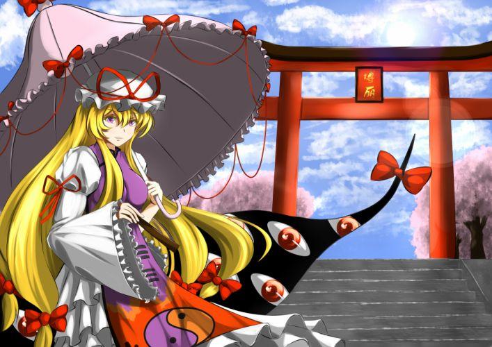 touhou blonde hair bow bushi j cherry blossoms clouds hat long hair purple eyes sky stairs torii touhou umbrella yakumo yukari wallpaper