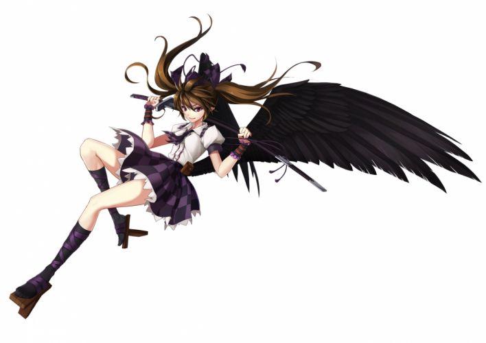 touhou brown hair himekaidou hatate katana kneehighs shinebell sword touhou twintails weapon white wings wallpaper