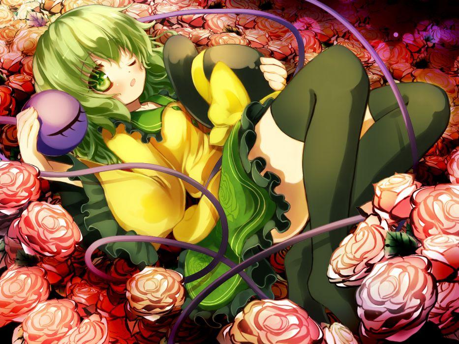 touhou flowers gengetsu chihiro green eyes green hair hat komeiji koishi ribbons rose short hair thighhighs touhou wink wallpaper