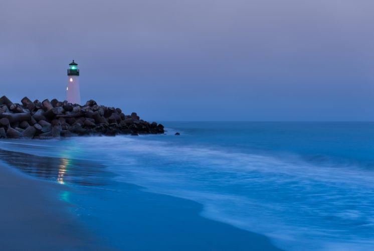 USA California lighthouse light rocks beach sand surf ocean wallpaper