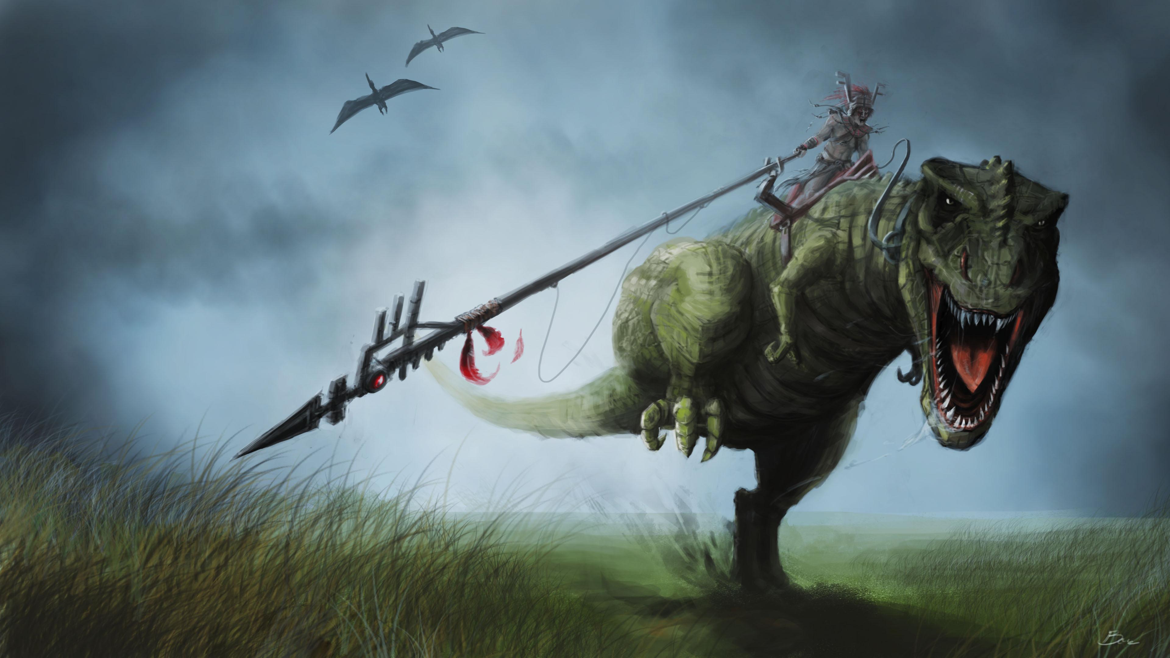 Warrior dinosaur rider wallpaper | 3840x2160 | 179695 ...