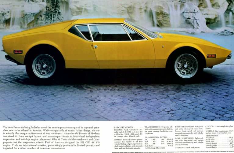 1971 De Tomaso Pantera supercar De-Tomaso poster v wallpaper