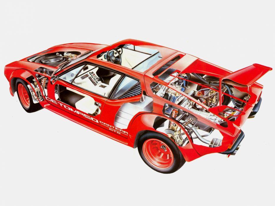 De Tomaso Pantera supercar De-Tomaso interior engine     f wallpaper