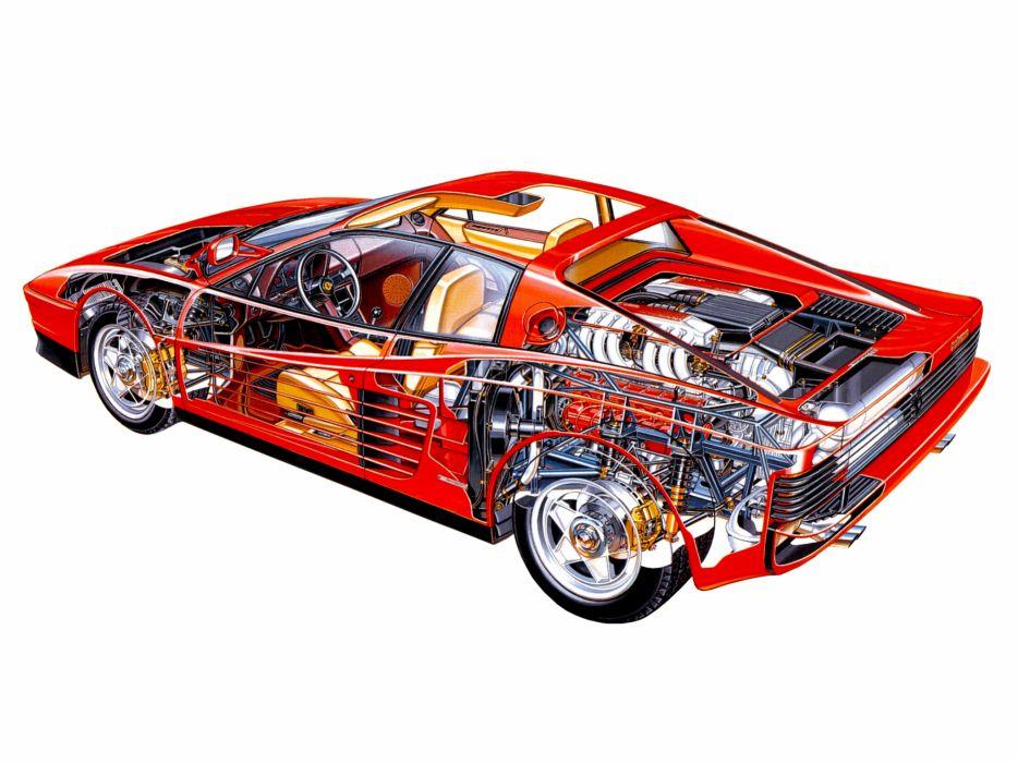 Ferrari Testarossa supercar interior engine     g wallpaper