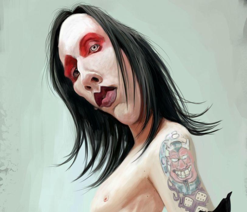 MARILYN MANSON industrial metal rock heavy shock gothic glam   fw wallpaper