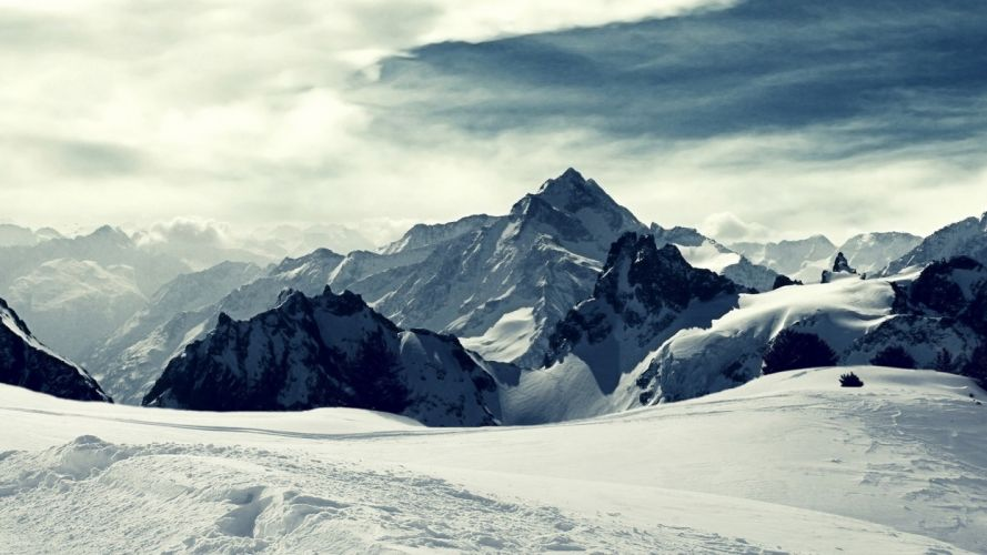 mountains Iceland snow landscapes wallpaper