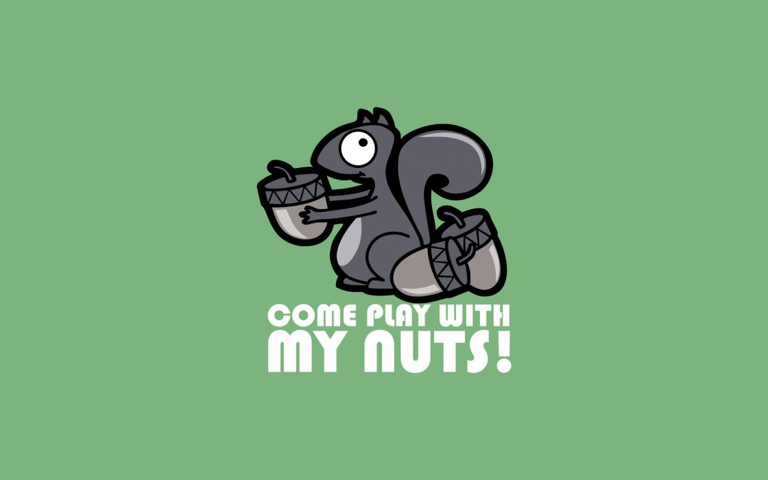 minimalistic text quotes funny squirrels nuts simple background green background wallpaper