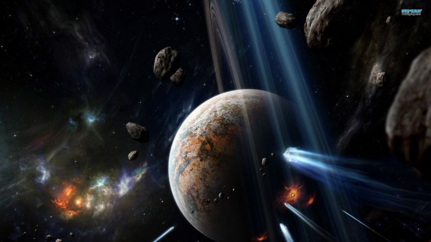 outer space stars planets Earth nebulae rings asteroids hit wallpaper