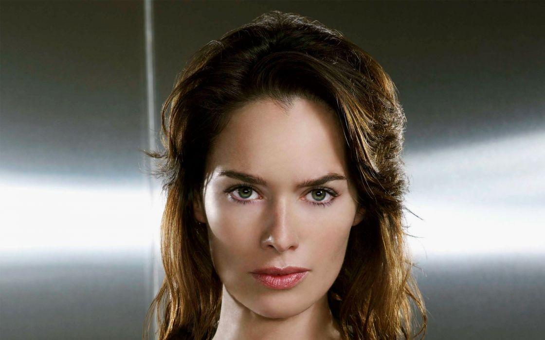 Brunettes Women Actress Lena Headey Green Eyes Faces
