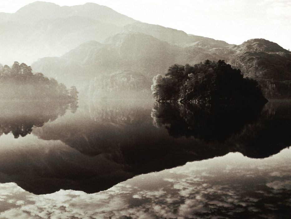 water mountains trees fog outdoors grayscale lakes reflections wallpaper