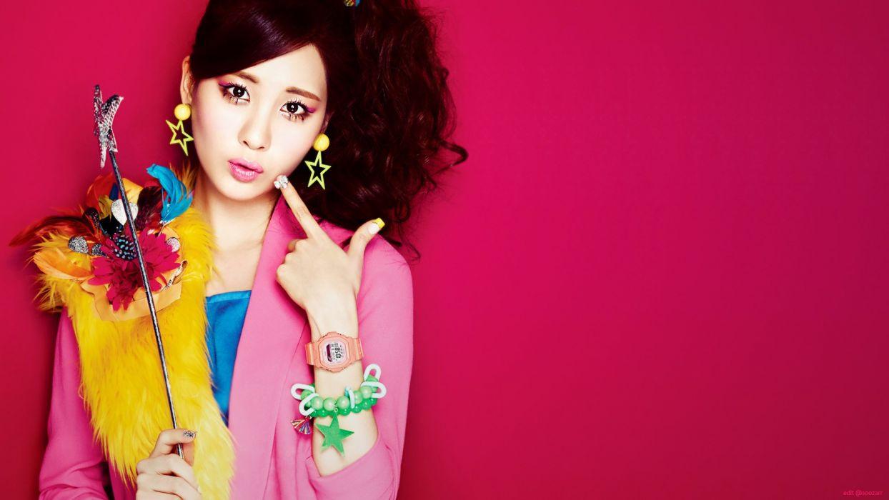 brunettes women close-up eyes baby models fashion Girls Generation SNSD long hair clocks celebrity black eyes Asians Seohyun Korean K-Pop faces wallpaper