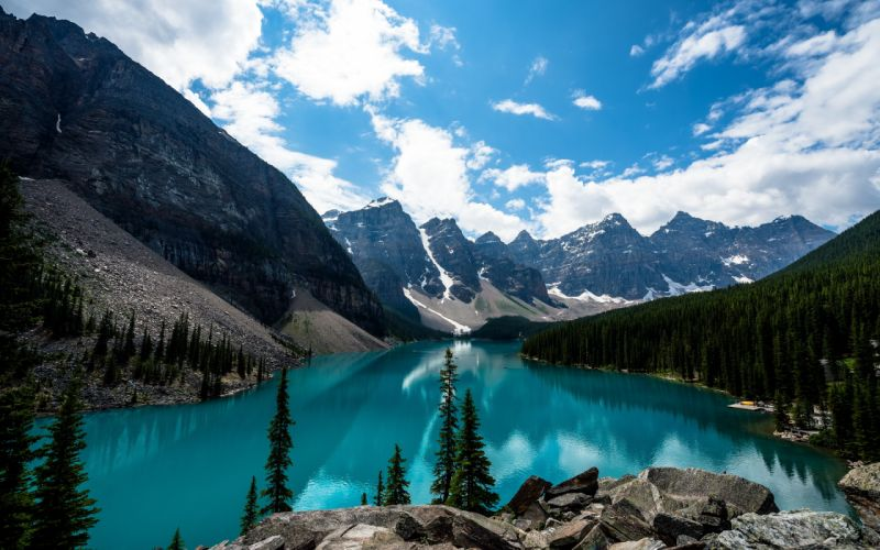 mountains clouds landscapes nature trees rocks Canada Alberta lakes Lake Luise wallpaper