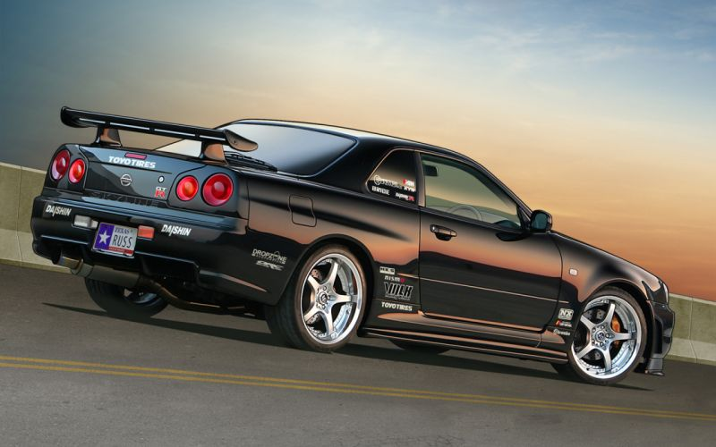 cars Nissan vehicles Nissan Skyline rear angle view wallpaper