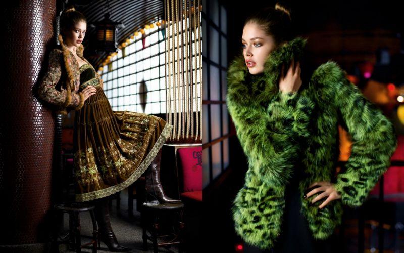 women fashion Doutzen Kroes fashion photography fur coat wallpaper
