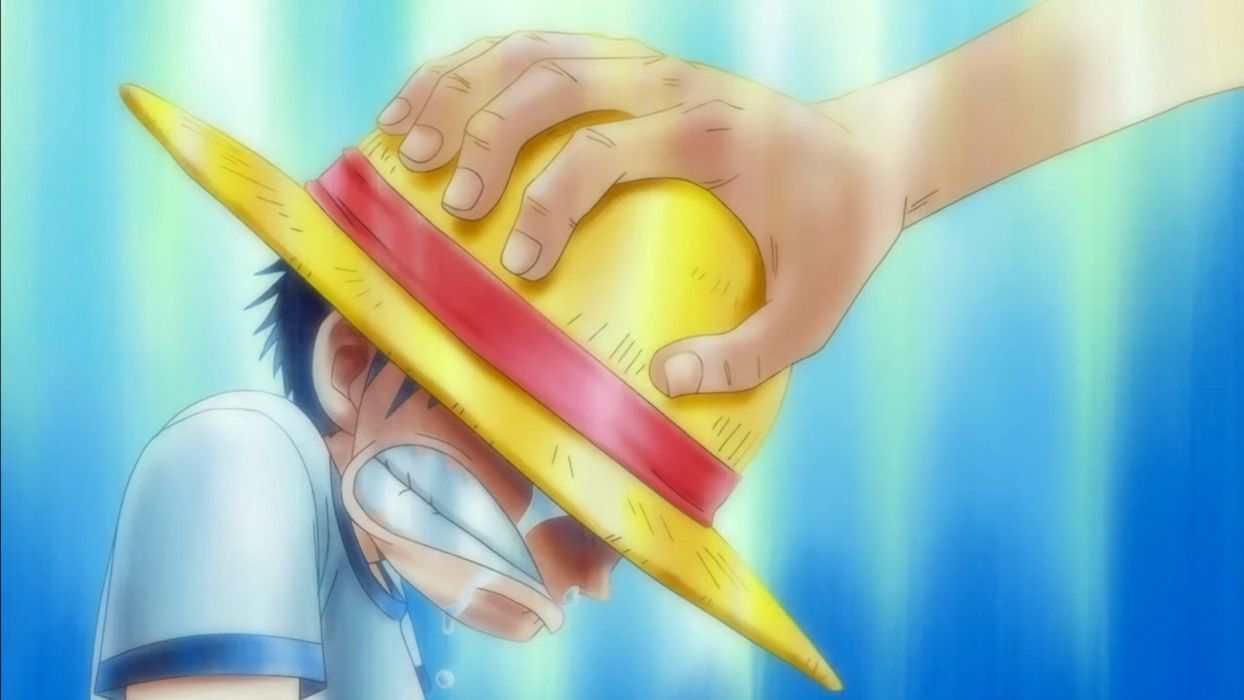 blue One Piece (anime) hands sad crying straw hat Monkey D Luffy children wallpaper
