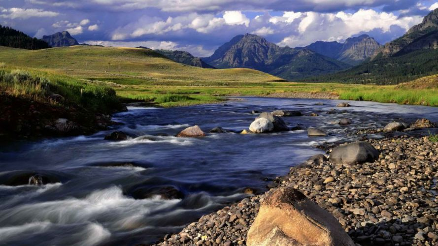 light valleys Wyoming Yellowstone National Park Lamar soda evening wallpaper