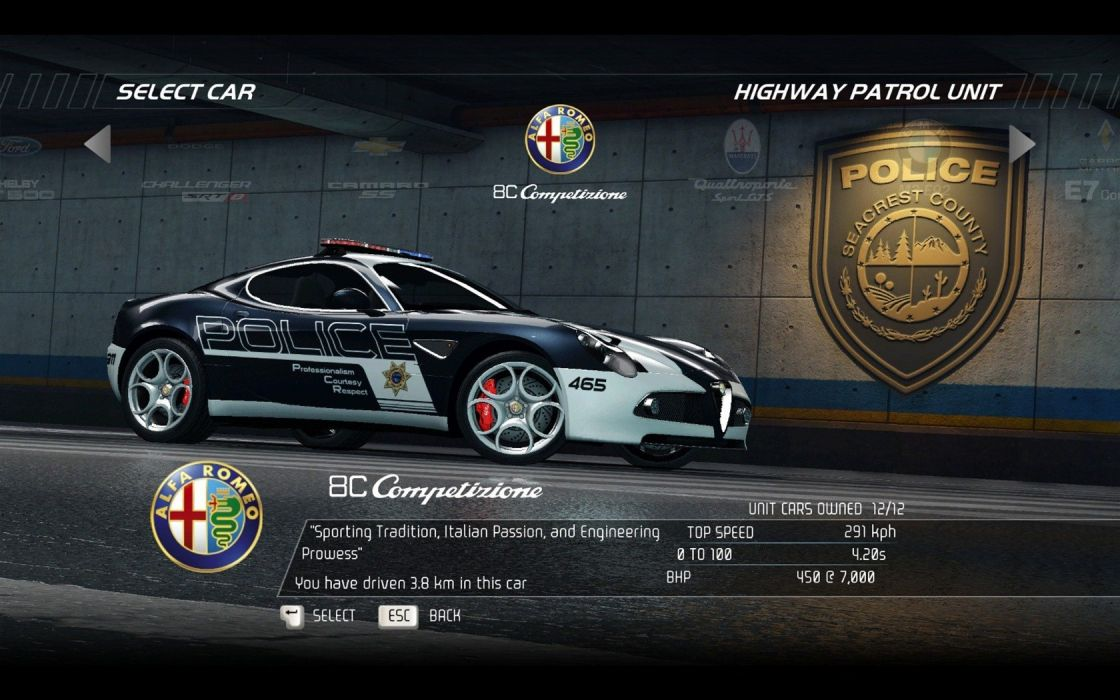 video games cars police Alfa Romeo 8C Need for Speed Hot Pursuit games Competizione pc games wallpaper