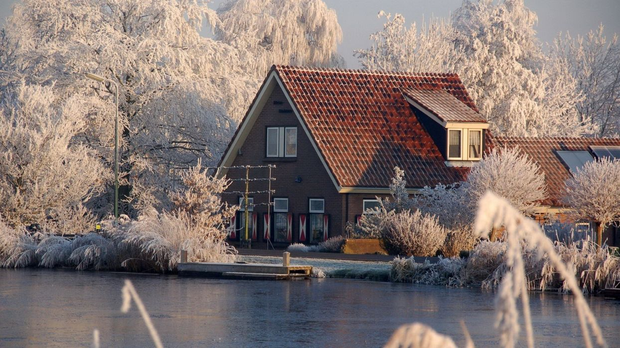 water landscapes winter snow cityscapes houses villages wallpaper