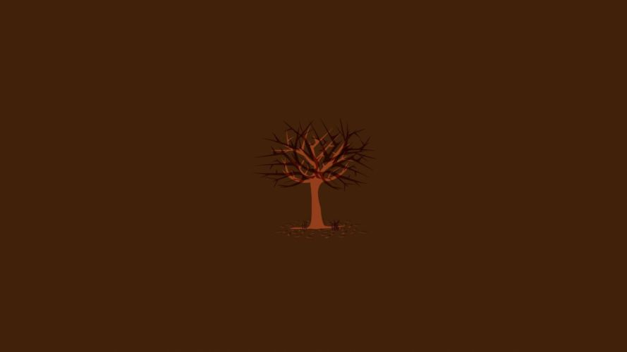 minimalistic trees autumn wallpaper