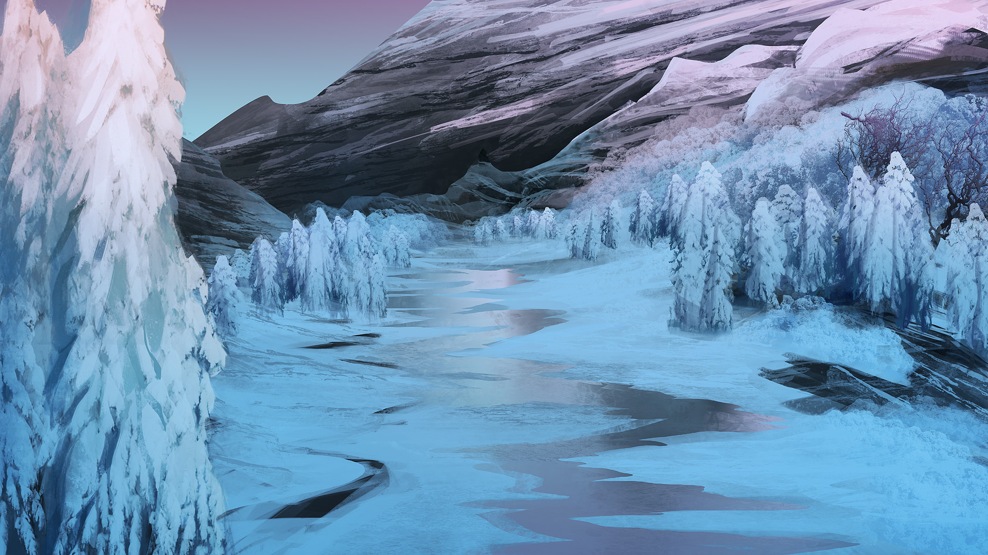 Art mountains winter river trees ice snow painting d ...