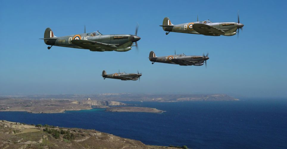 art the sky the British fighter jets the English Channel WW2 drawing military f wallpaper