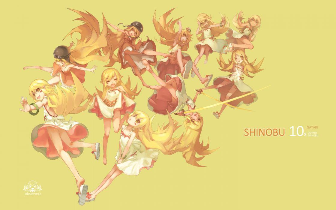 bakemonogatari blonde hair dress katana loli long hair monogatari (series) oshino shinobu sword watermark weapon wink yellow yellow eyes wallpaper