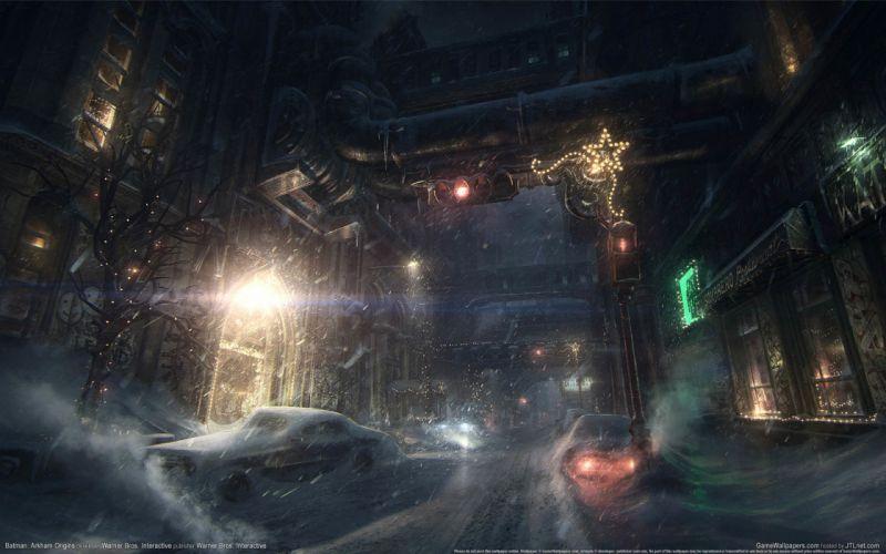 Batman Arkham Origins game wallpapers Batman game city cars snow wallpaper