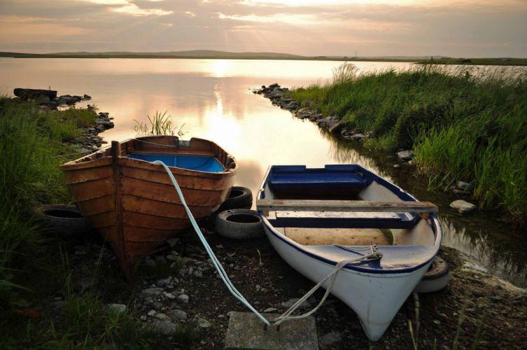 boat clouds sunset evening lake bokeh wallpaper