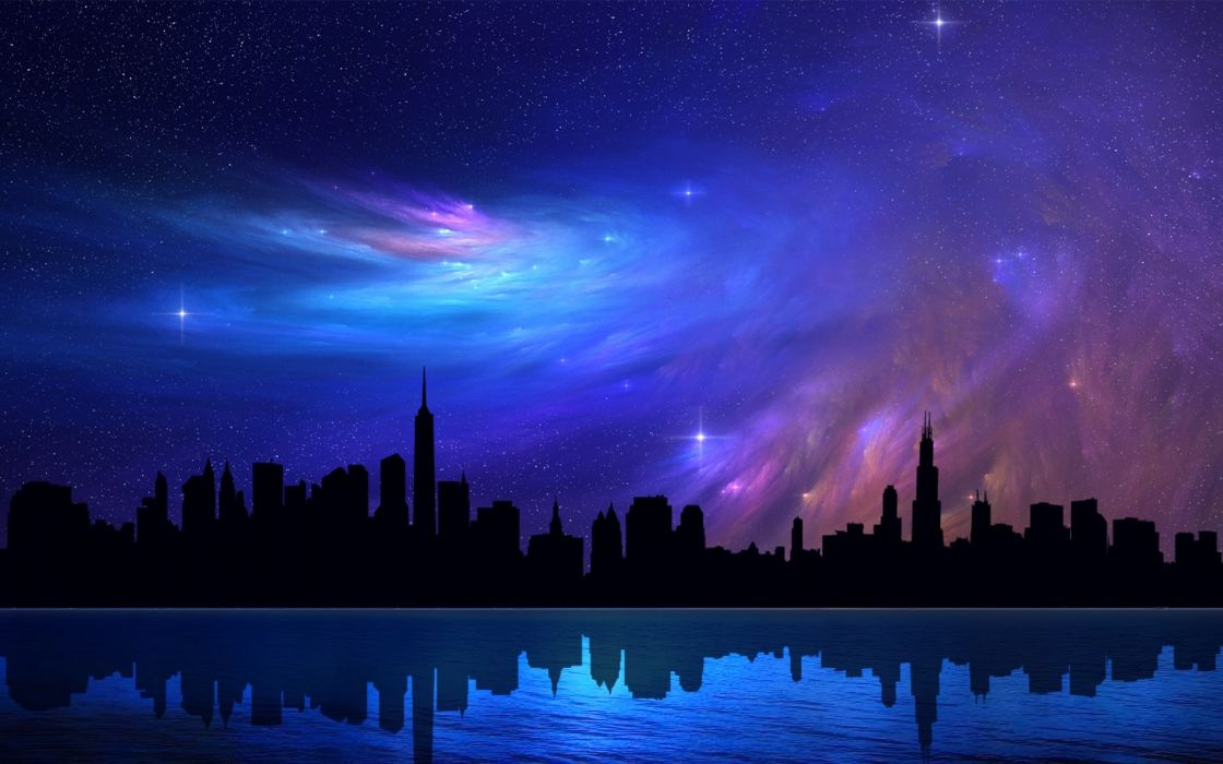 Chicago Skyscrapers Sky Abstraction Stars Night Reflection Beautiful Dreamy Nebula Wallpaper
