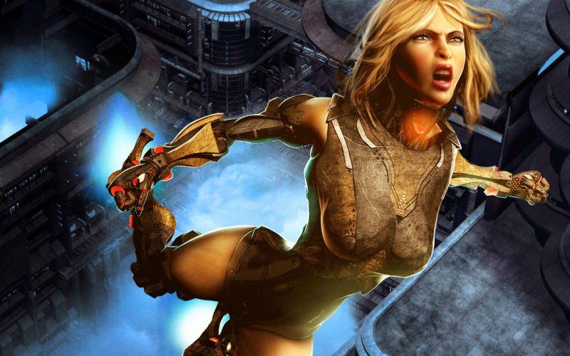 cyborg robot girl armor warrior f wallpaper