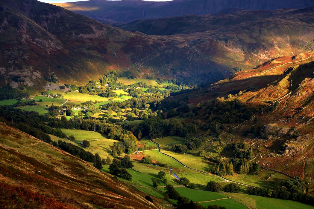 England the valley the hills the village autumn light slopes trees wallpaper
