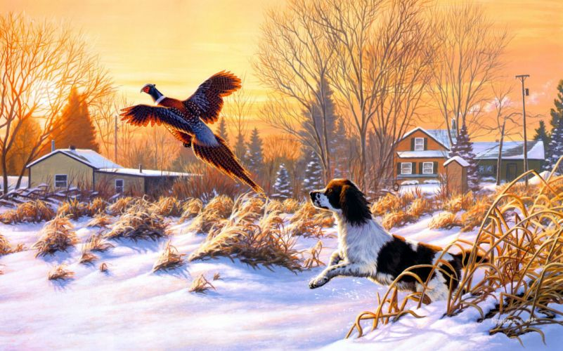 Frank Mittelstadt Getting Up art nature winter snow hunting dog bird fly sunrise painting mood wallpaper