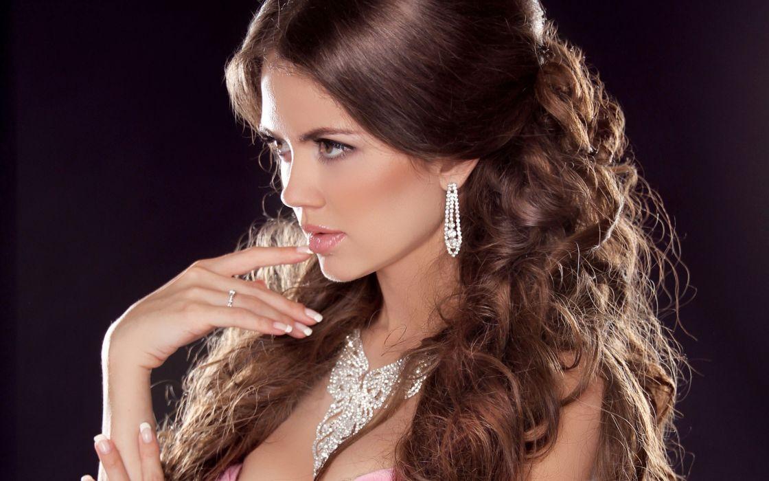 girl brunette model face jewelry beauty wallpaper