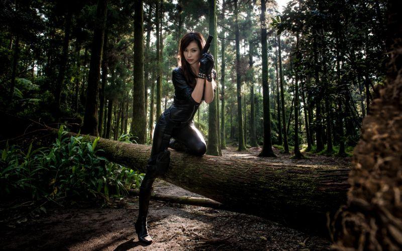 girls and guns girl gun asian girl weapon pistol warrior forest f wallpaper
