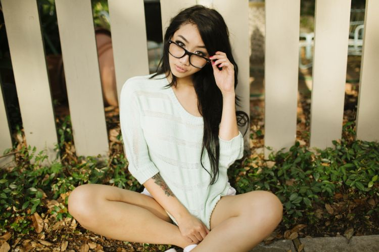 glasses Asian sexy look beauty f wallpaper