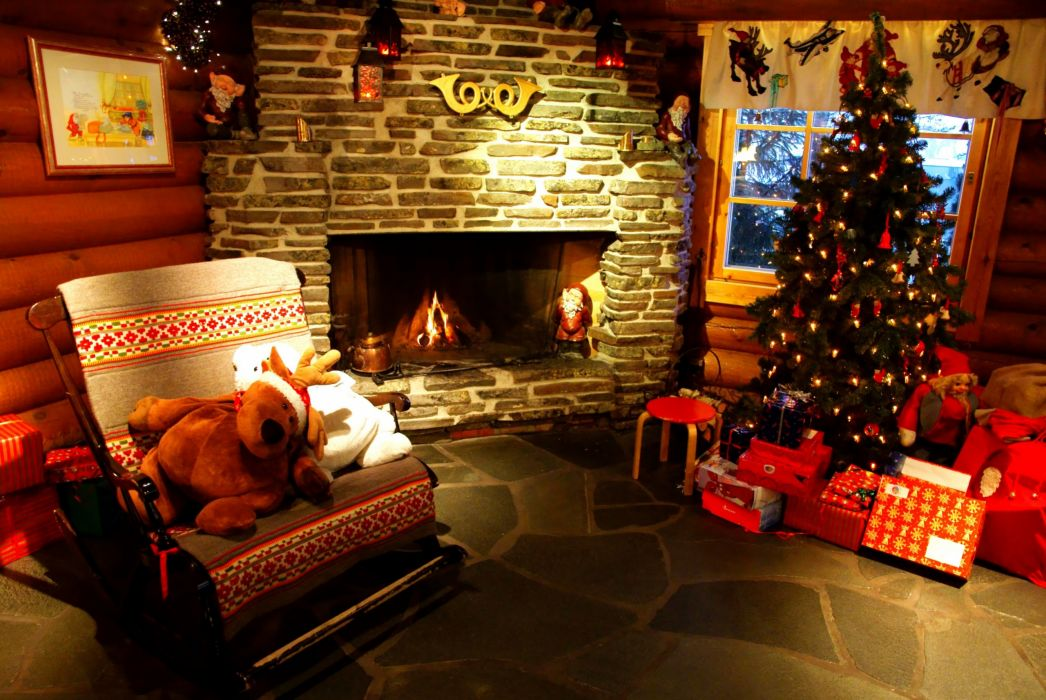 holiday tree presents fireplace wallpaper