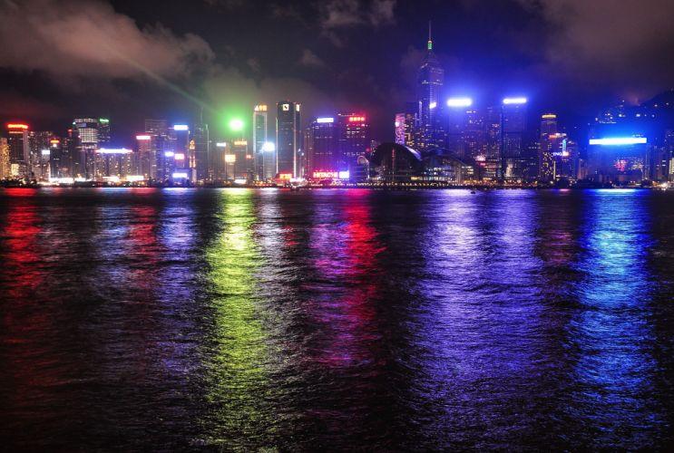 Hong Kong China reflection color lights wallpaper