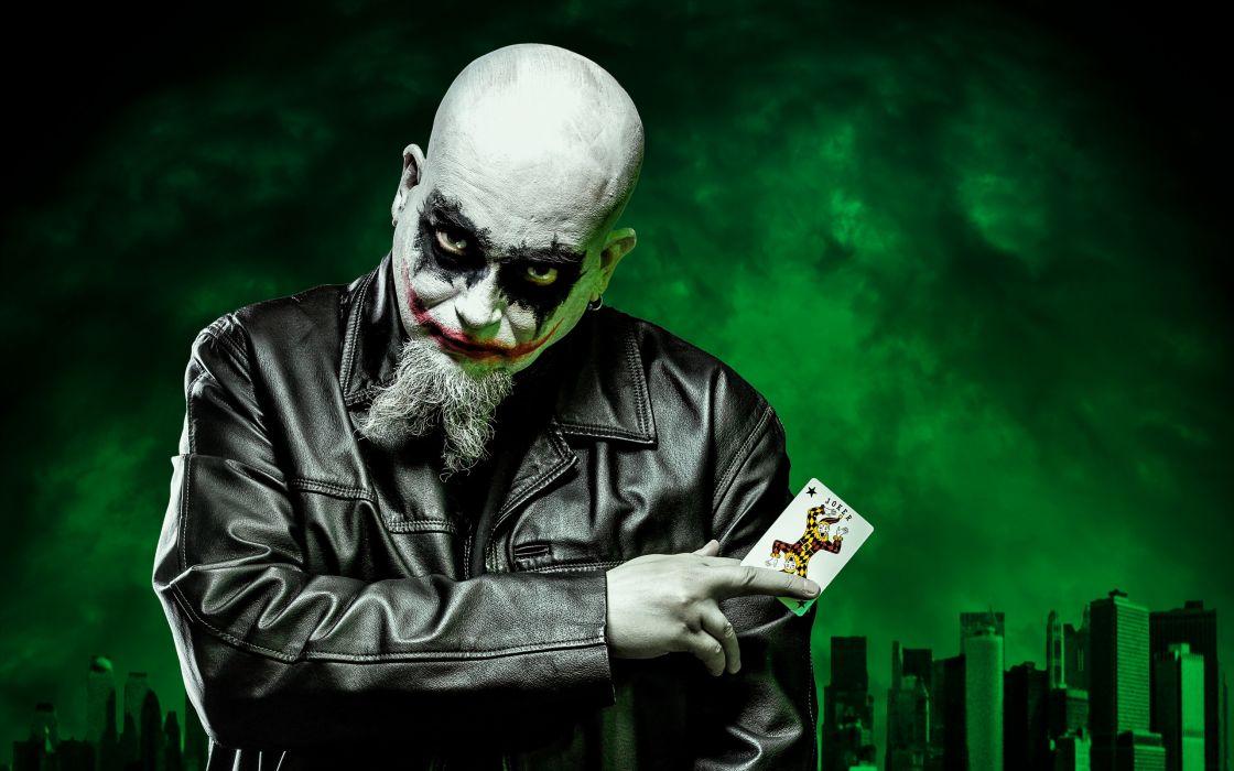 Joker dark self portrait batman clown evil wallpaper