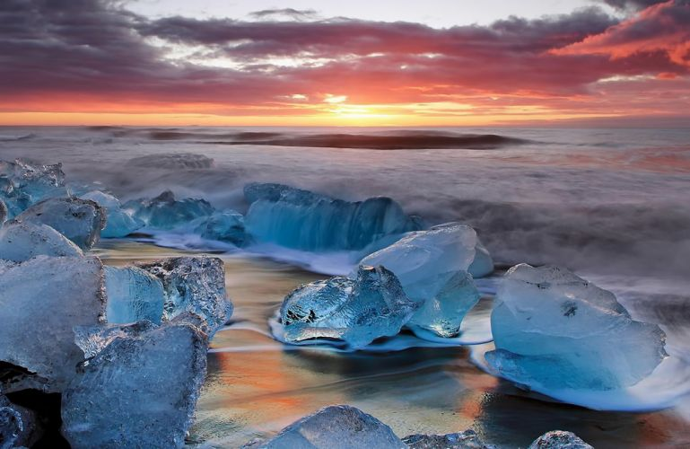 landscape sunset ice surf sky clouds Iceland winter g wallpaper