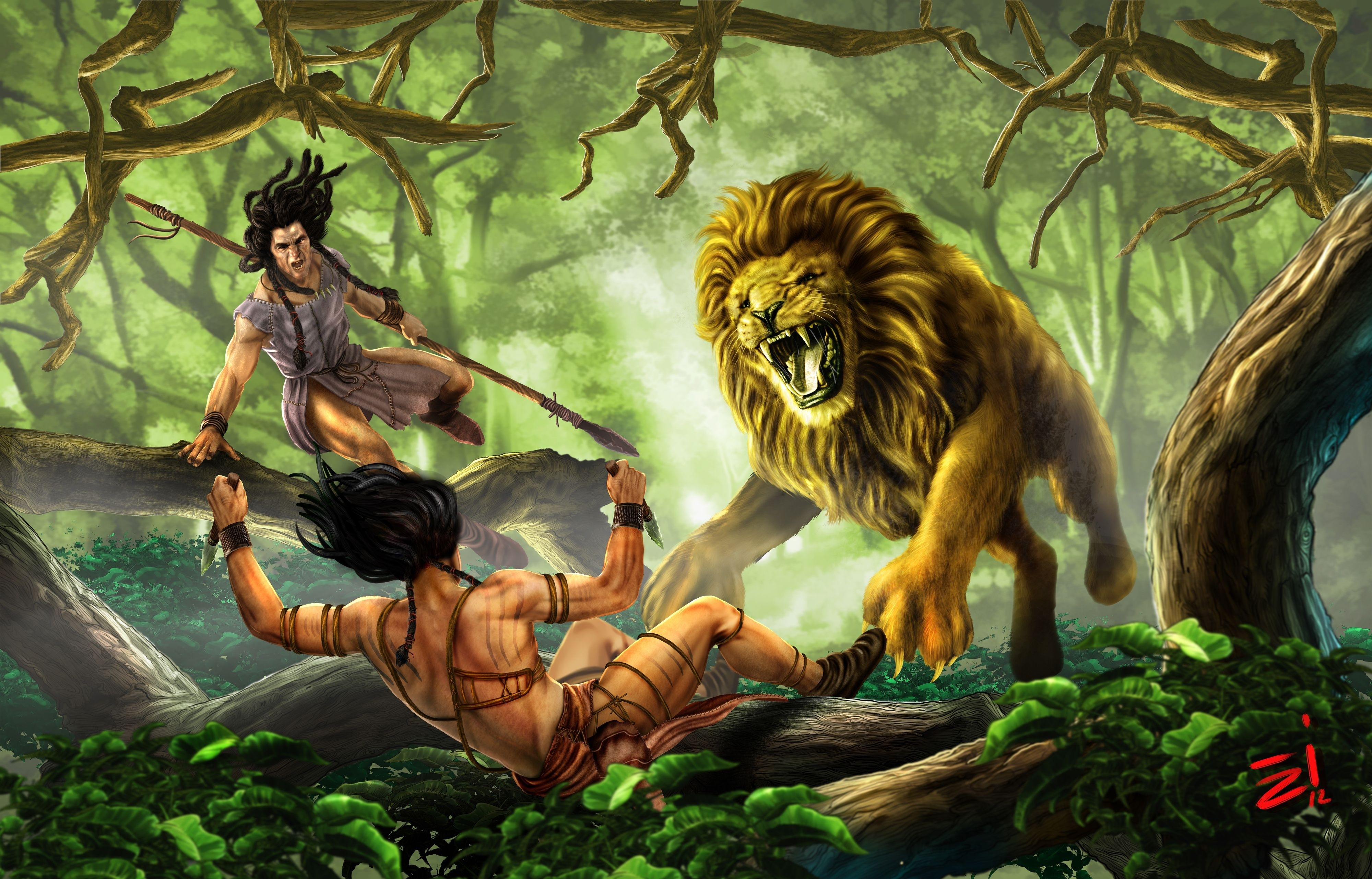 lion warrior battle k wallpaper backgroundLion Warrior