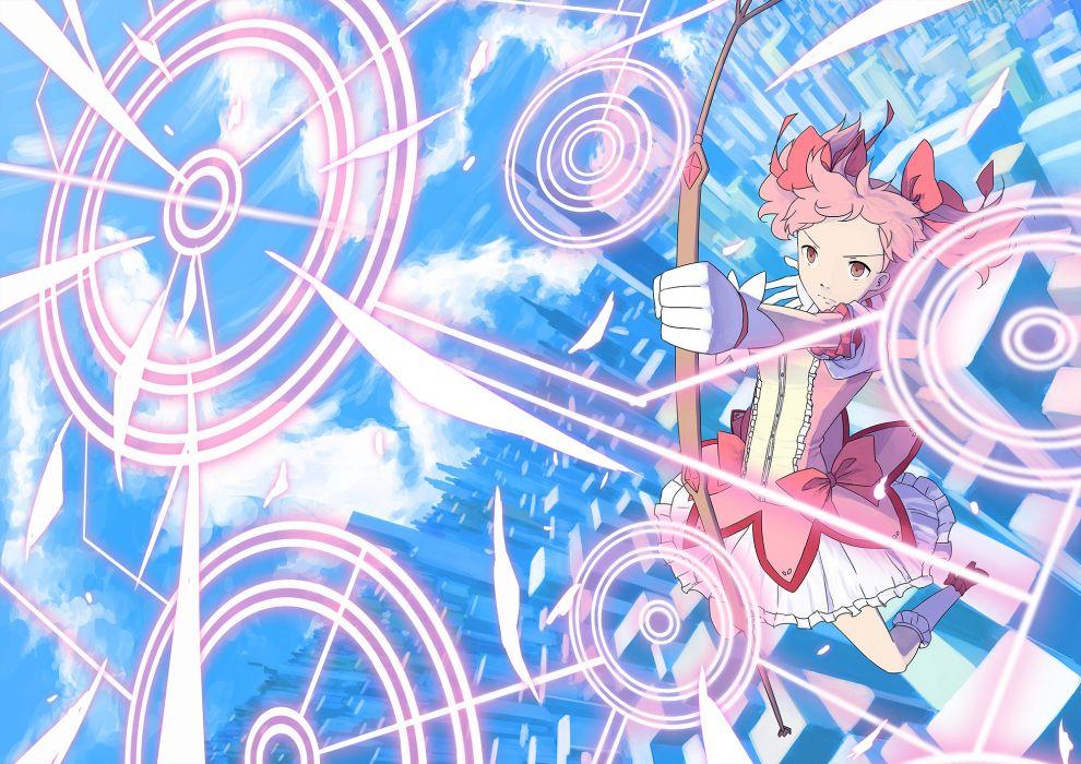 mahou shoujo madoka magica bow bow (weapon) dress juu-g kaname madoka mahou shoujo madoka magica pink eyes pink hair weapon wallpaper