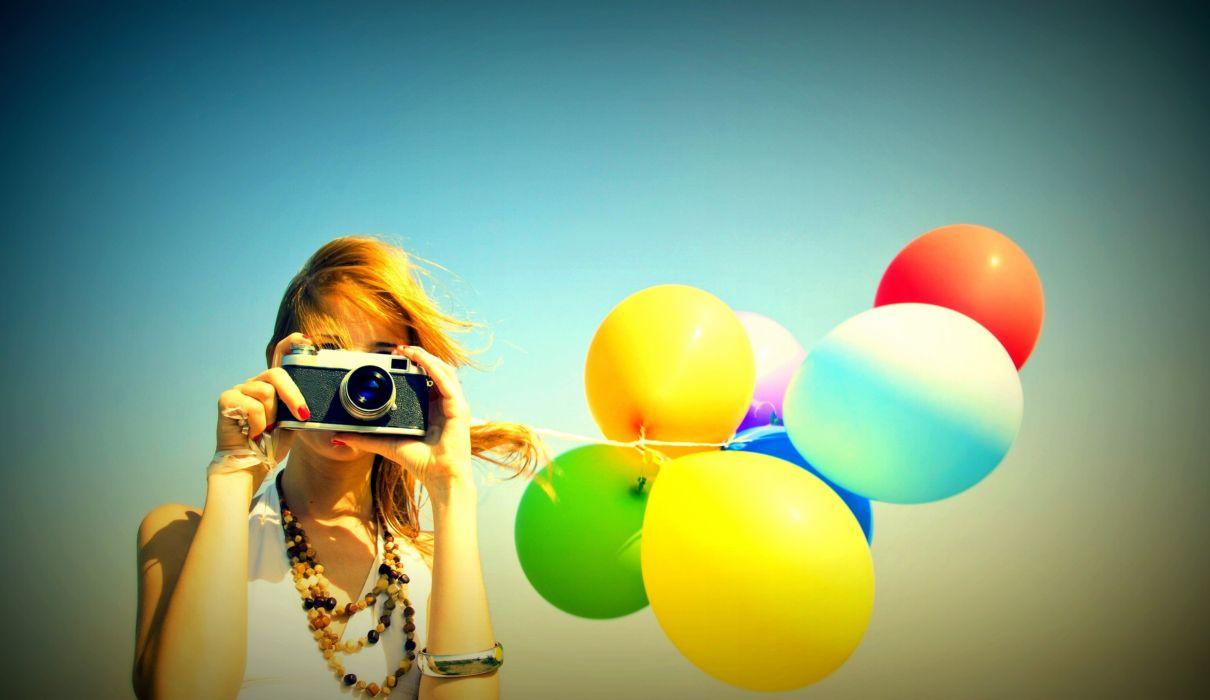 mood girl camera camera balloons aircraft balloon wallpaper